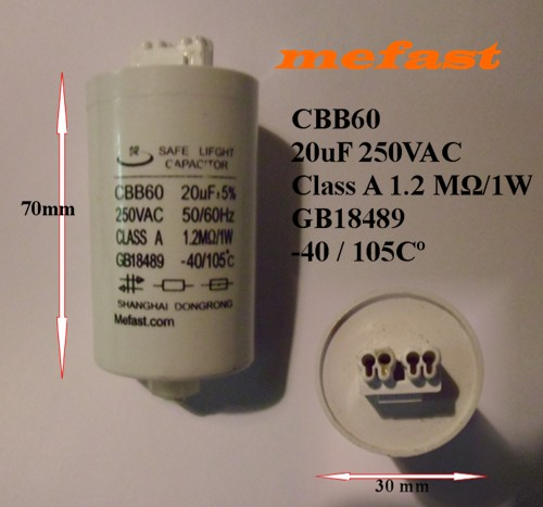 CBB60 20uF 250VAC Safe Light Capacitor