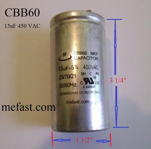 CBB60 15uF 450VAC Capacitor, Truelife Generator Parts