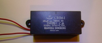 CBB61 28uF 350VAC capacitor wired