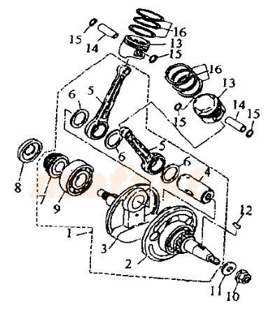 Lifan 250 v twin 250cc CTM 2V49FMM parts Crankshaft , Piston