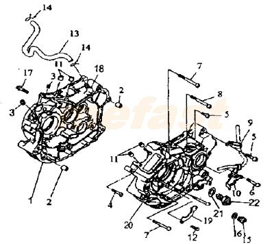 Lifan 250 v twin 250cc CTM 2V49FMM parts Crankcase and Cover