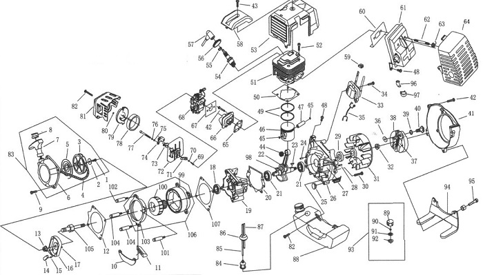 49CC Engine Exploded View