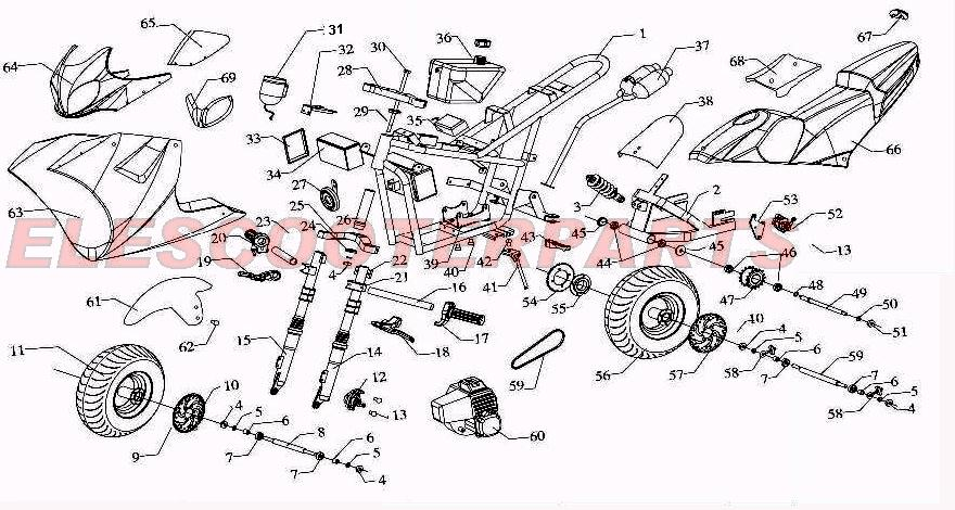 49cc parts terminator scooter wiring diagram chineses terminator chopper wire diagram #10