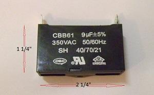 CBB61 9uf 350VAC capacitor