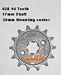 428 14 Tooth 17mm shaft
